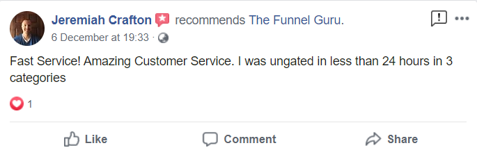 the funnel guru reviews | testimonials| positive feedback from customers | ungating on amazon