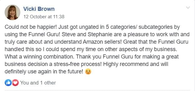 the funnel guru reviews | testimonials| positive feedback from customers | ungating on amazon all restricted categories