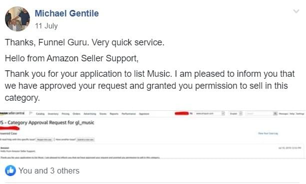 Music category Ungating Amazon Approval service
